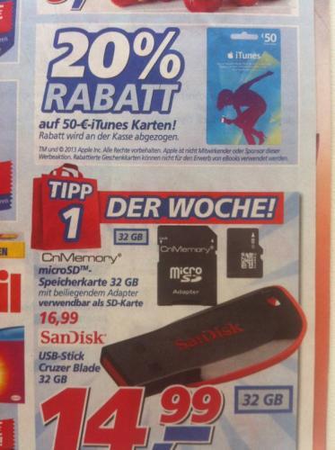[Offline] 50 Euro ITunes für 40 Euro und günstigen 32GB Cruzer Blade bei Real (Lokal?)