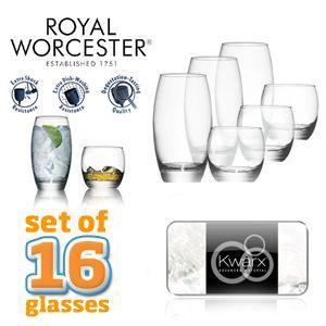 Set mit 16 Royal Worcester Kwarx Design-Gläsern für 29,95€ + 5,95€ Versand von iBOOD