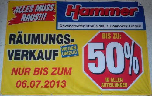 [Lokal Hannover] Räumungsverkauf bei Hammer - alles muss raus