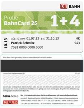 Probe BahnCard 25 1+4 (auch für Mitfahrer) ab 01.07.13