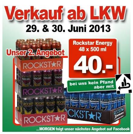 [lokal ter Huurne Hollandmarkt] Rockstar Energy 48x500 ml für 28€ da Pfand zurück 48x500ml 40€ -12€ entspricht einem Dosenpreis von 0,59€!!