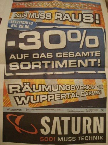 SATURN Wuppertal - Barmen Schliessung 30 % auf ALLES bis 29.06.13