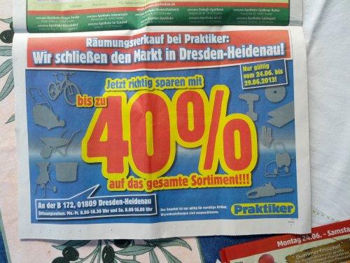 [Lokal] Praktiker Dresden Heidenau: 40% auf Alles (Ausverkauf)