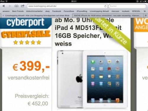 Ab 09.00 Uhr: Apple iPad 4 MD513FD/A mit 16GB Speicher, WiFi, weiss im Cyberport - Cybersale für 405,00 €