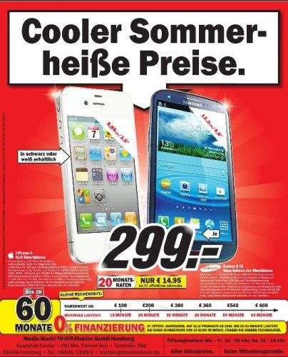 Samsung Galaxy S3 16GB nur bis Morgen im MediaMarkt Homburg für  299,- Euro, ohne Vertrag und Branding