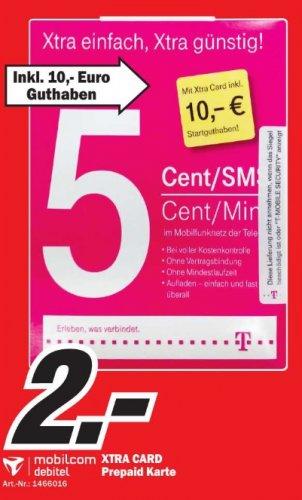 XTRA Card Prepaid mit 10 Euro Startguthaben und 5 Cent pro Min und SMS im Telekom Netzt ( D1 ) für nur 2 Euro!! Mediamarkt Homburg