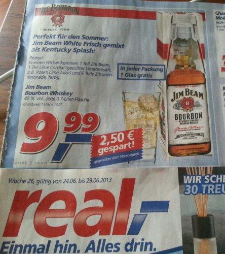 """JIM BEAM Whiskey mit """"gratis"""" Glas bei real,- für 9,99 € @"""