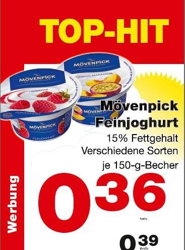 Mövenpick Feinjoghurt 150g - diverse Sorten - 0,39 inc. MwSt. beim Metro