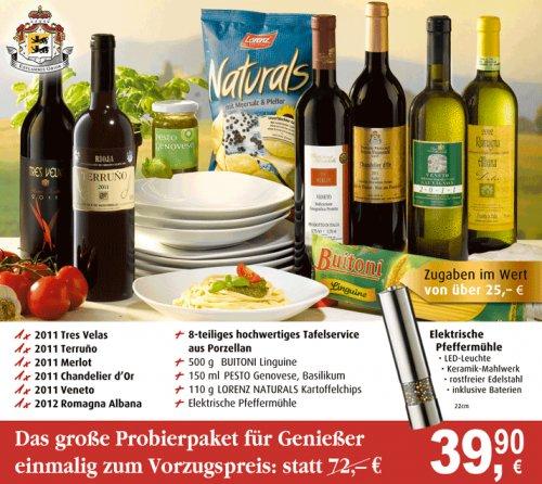 Weinpaket für 39,90€ mit Zugaben 25€