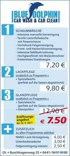 (Lokal Oldenburg) Autowaschen incl Politur für 7,50 € - Blue Dolphin