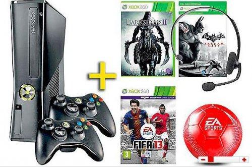 Microsoft Xbox 360 250GB inklusive 3 Spiele (FIFA 13) + 2 Conroller + Ball + Headset für 155 Euro