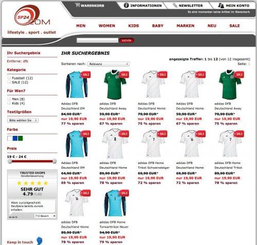 adidas DFB Trikot für Herren / Kinder für 19,90€ (bis zu -79%) + 4,99€ VK - leider nur wenige Größen