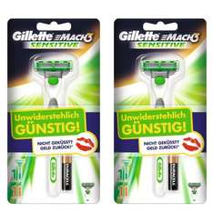 2er Pack Gillette MACH3 Sensitive Power Rasierapparat Limited Edition @Amazon Blitzdealz