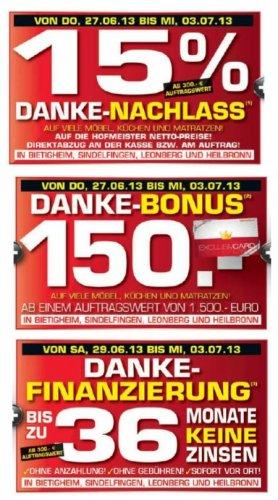 Möbel Hofmeister sagt Danke. Prozente, Fest, Bonus.