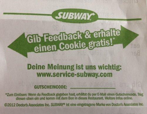Subway - Gratis Cookie durch Bewertung des letzten Kaufs