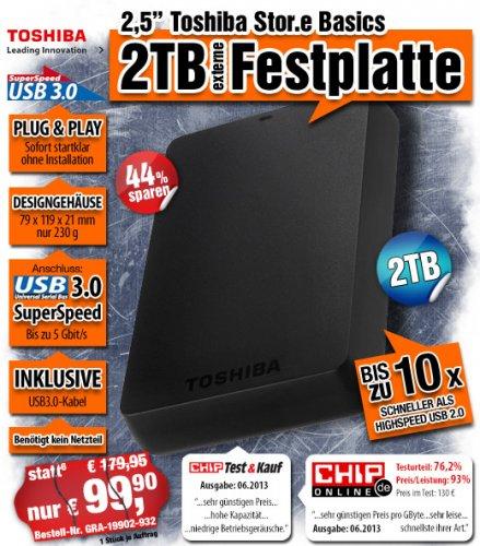 """2,5"""" Toshiba STOR.E BASICS USB 3.0 2TB Festplatte 2,5 Zoll für 99,90€ + 4,90€ VSK"""
