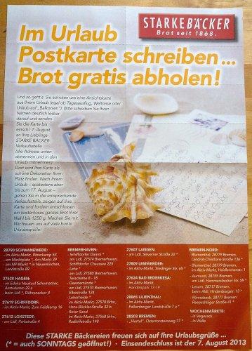 [Lokal - OHZ, HB, CUX] Starke Bäcker - Brot für Postkartenporto