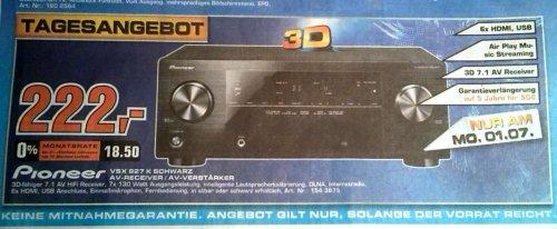 [lokal Saturn Dortmund & Soest] Pioneer VSX 827 AV-Receiver 222€ (nur 1.7.)