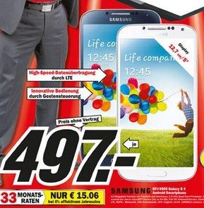 Samsung Galaxy S4 LTE in zwei Farben im Mediamarkt Heilbronn für 497 Euro