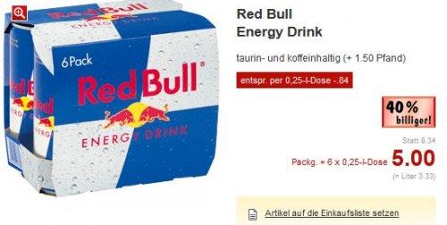 Kaufland - 6er Pack Redbull 0,25 l für effektiv 0,84€ pro Dose + Pfand