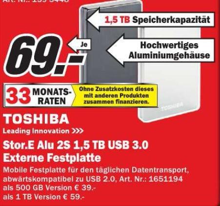 "Lokal MM Essen TOSHIBA STOR.E ALU 2S 2,5"" USB3.0 1,5 TB 69 €"