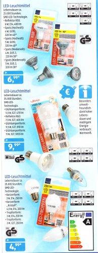 [Aldi Süd] ACHTUNG, teils Verkauf gestoppt?  LED - Leuchtmittel bis 11W 9,99€ ab 11.7.13