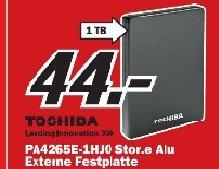 Toshiba StorE Alu 2.5 Zoll 1TB USB 3.0 Schwarz im Mediamarkt Mülheim für 44 Euro