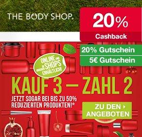 [Qipu Deal] The Body Shop: Kaufe 3 Zahle 2 bei um 50% reduzierte Produkte + 20% Gutschein + 20% Cashback