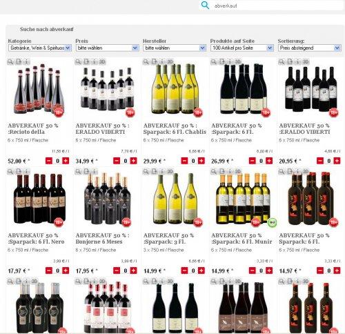 Weinabverkauf bei lebensmittel.de - 50% Ersparnis angepriesen, teilweise auch mehr
