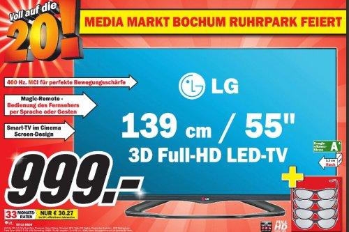 LG 55LA6608 139 cm (55 Zoll) Cinema 3D LED-Backlight-Fernseher, EEK A+ (Full HD, 400Hz MCI, WLAN, DVB-T/C/S, Smart TV) schwarz  Mediamarkt Bochum 999€