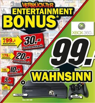 [MM Stuttgart] XBOX 360 4Gb für 99 Euro + 30 € MM Gutschein