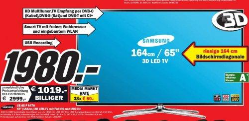 Samsung UE65F6470 166 cm (65 Zoll) 3D-LED-Backlight-Fernseher, EEK A+ (Full HD, 200Hz CMR, DVB-T/C/S2, CI+, WLAN, Smart TV, HbbTV, Sprachsteuerung)  1980€  Media Markt  Mannheim Sandhofen