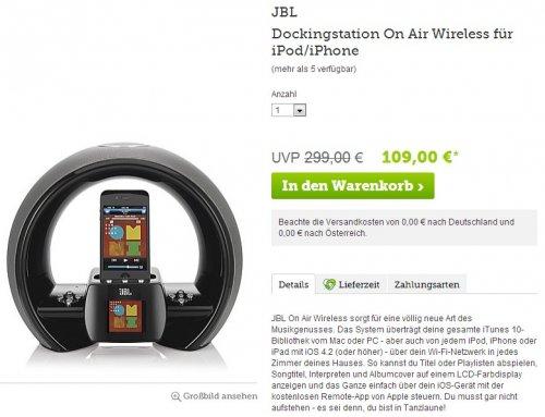 JBL Dockingstation On Air Wireless für iPod/iPhone für EUR 109,00 (inkl. Versand)