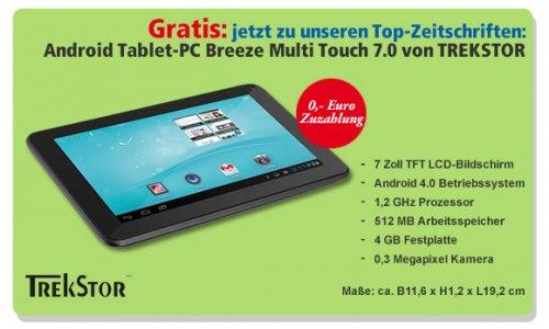Trekstor - Breeze Multitouch-TabletPC mit Hörzu-Jahresabo für 86,40 €; Mit höherer Zuzahlung auch Focus, Stern, Spiegel oder Kicker möglich