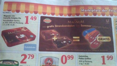 [Globus Kaiserslautern] Magnum / Cornetto Eis für 1,49€ + Strandsandalen (sehr sexy) ab 8.7.2013