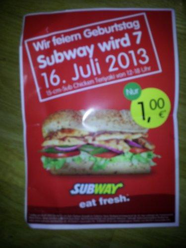 [lokal] Subway Stuttgart-Bad Cannstatt - 15-cm Chicken Teriyaki für 1 Euro am 16.07.2013