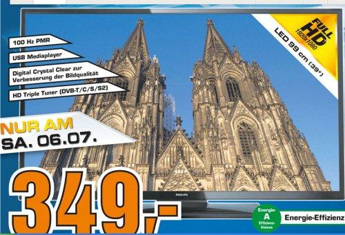 LOKAL Saturn Köln   Philips 39PFL3008K 99 cm ( (39 Zoll),LED-Fernseher DVB-T/C/S/S2 ,100 Hz ) 349€