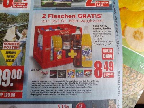 [Edeka] Coca Cola Zero Getränke 12x1l Kiste + 2 Flaschen gratis