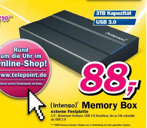 [ telepoint Dülmen ]  Intenso Memory Box 3TB USB 3.0 externe Festplatte HDD 3,5 Zoll 3000GB 88€