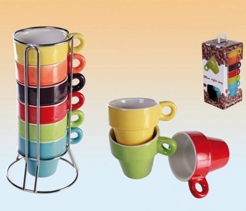 Espresso-Set Tassenset 6 Tassen Bunt im Ständer + Geschenkbox @ebay 1€