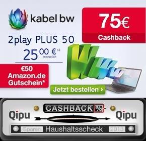 [lokal + Qipu] KabelBW 75€ + 50€ Cashback für 2 Play Plus 50 Paket (50/2,5Mbit/s)