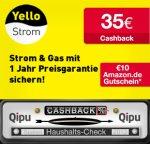 Yellow Strom Classic mit 35€ Qipu + 10€ Amazon GS - Monatlich Kündbar ggf. 20€ nach 1 Jahr