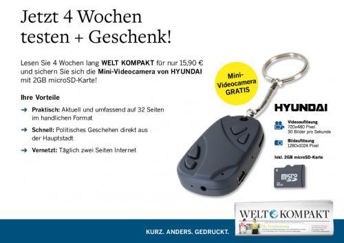4 Wochen Welt Kompakt + Mini Spy Key Chain Kamera + 2GB microSD für 5,90€