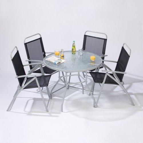 Gartenmöbel Set Glastisch + 4 Klappstühle mit Armlehne für nur 86,85 EUR inkl. Lieferung