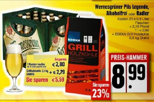 [lokal!?] Edeka - 1Kasten Wernesgrüner + 1 Sack Grillholzkohle gratis