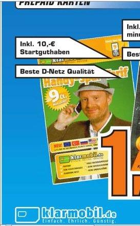 Klarmobil Prepaid Karte mit 10 Euro Startguthaben und bestem D-Netz für 1 Euro im Saturn Esslingen