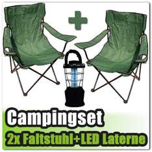 2x Faltstuhl Campingstuhl mit Getränkehalter dunkelgrün + Campinglaterne Dynamo