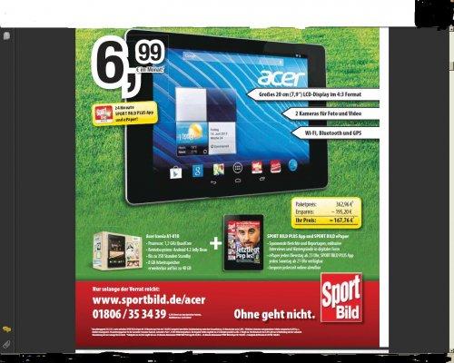 Sportbild Plus, Sportbild ePaper und Acer ICONIA A1-810 für 6,99€ ,24 Monate lang