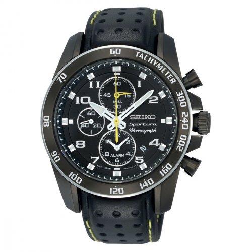 [27% unter idealo] Seiko Herren-Armbanduhr XL Sportura Alarm-Chronograph Chronograph Quarz Leder SNAE67P1