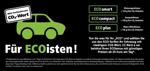 """Günstiges Auto mieten nach CO2 Wert """"Für Ecoisten"""""""